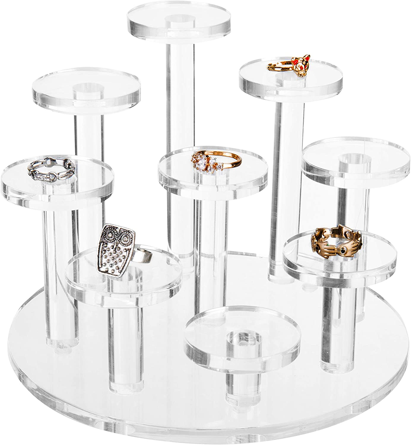 MyGift 9-Tier Clear Acrylic Ring Organizer Display Riser, Dresser Top Jewelry Stand