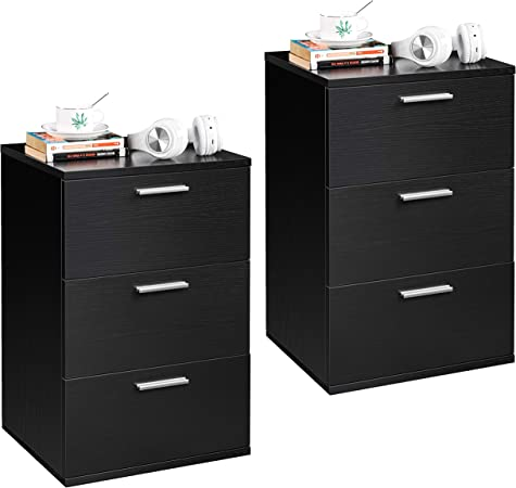 Yaheetech 2 Table de Chevet Table de Nuit Chambre à Coucher avec 3 Tiroirs 40 x 35 x 60 cm Commode de Salon Bureau Moderne Noir