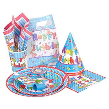 Full 12 Place Setting Birthday Party Paperware set Plates Cups