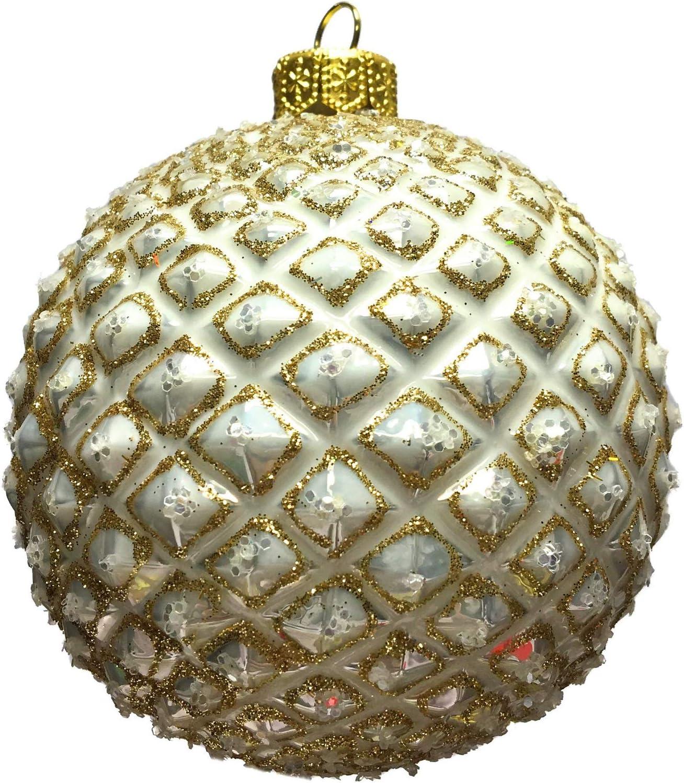 Amazon Com Pinnacle Peak Trading Company Gold And White Textured Ball Polish Glass Christmas Tree Ornament Decoration Home Kitchen