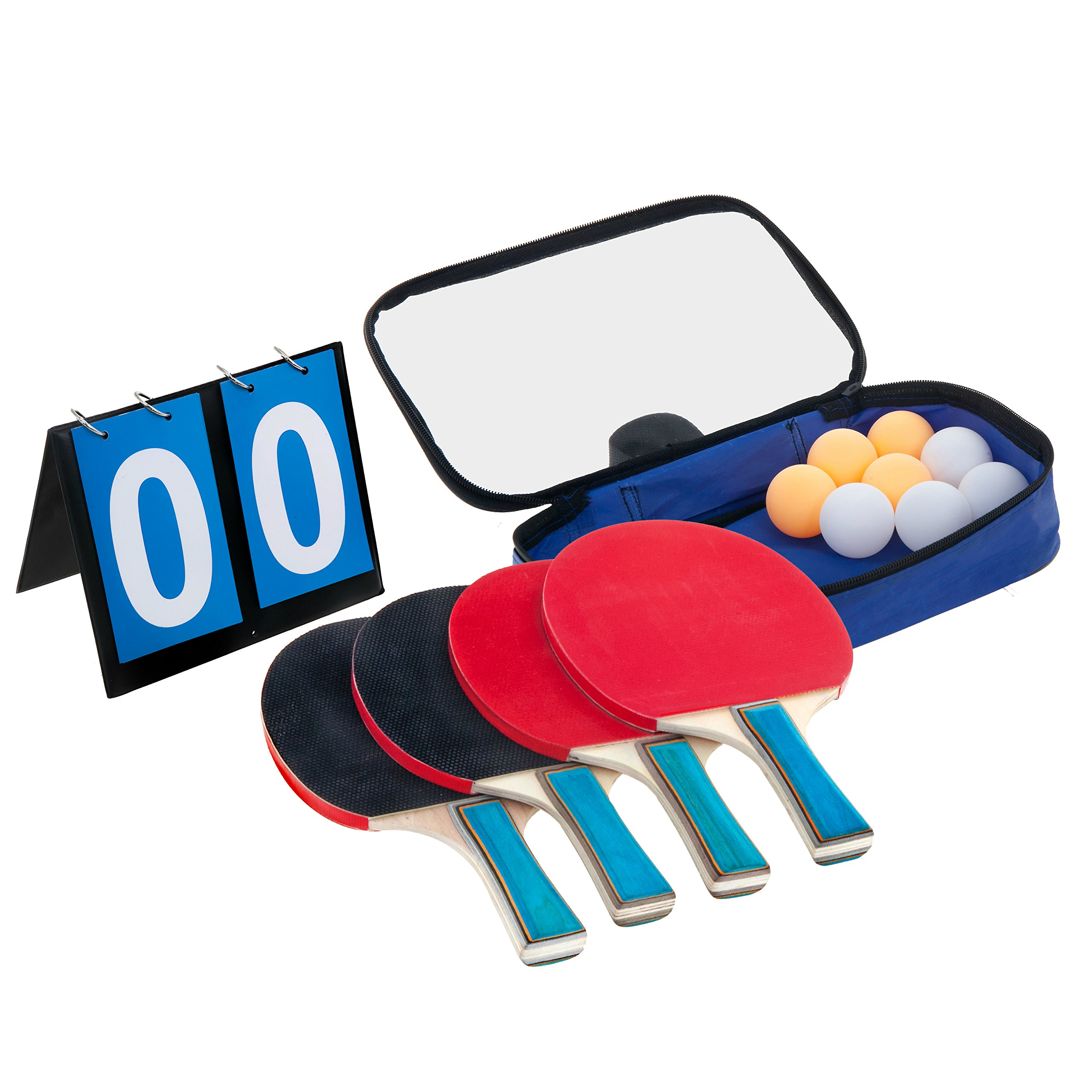 Laicol Ping Pong Paddle Set of 4 Paddles, 8 Balls and Carrying Bag Complete with Scoreboard Sets You up for a 4 Player Table Tennis Game