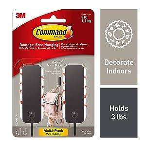 Command 17034MB-2ES Medium Matte Black Decorative, 2 Hooks Per Pack