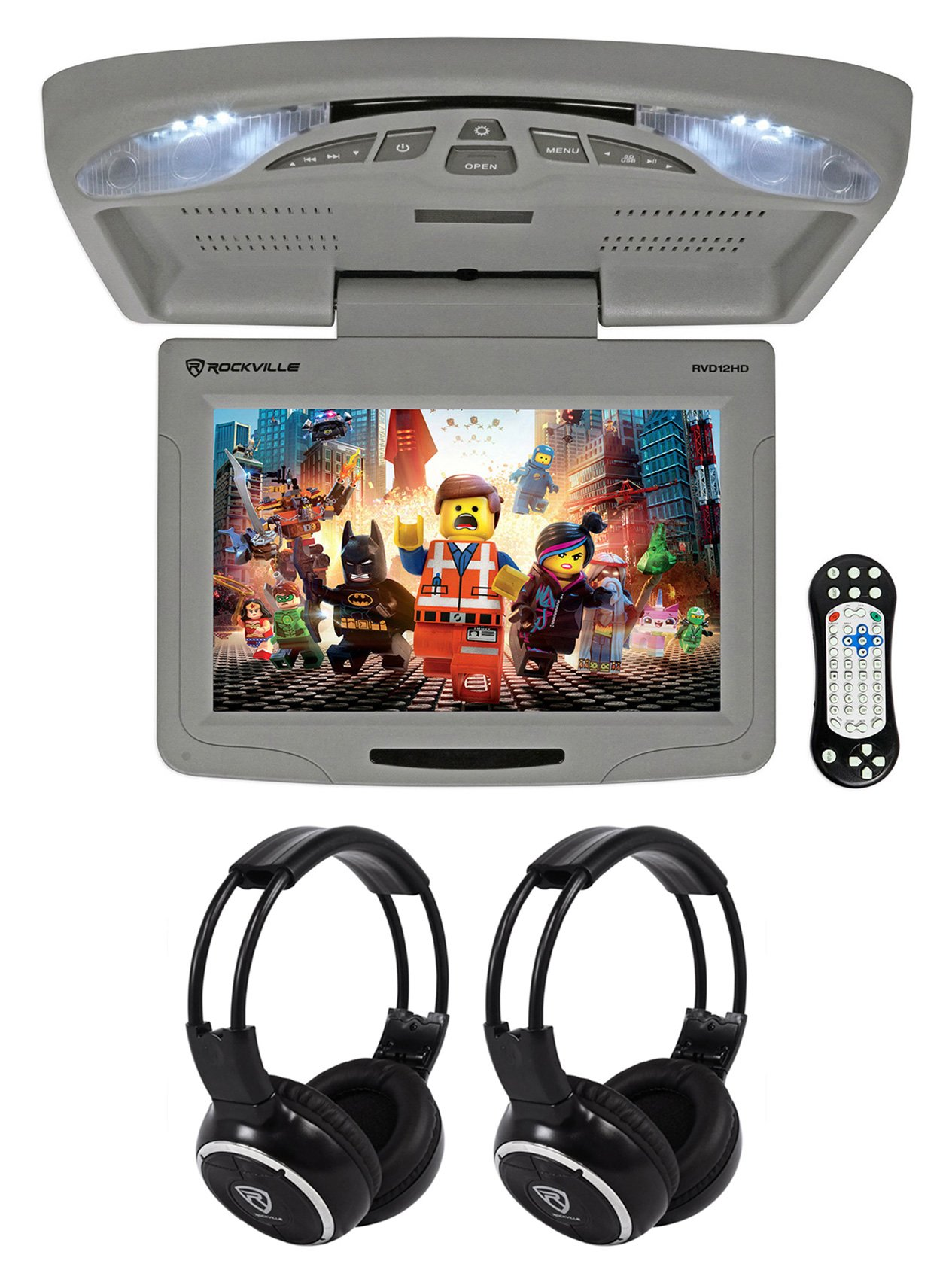 Rockville RVD12HD-GR 12'' Grey Flip Down Car Monitor DVD/USB/SD Player+Headphones