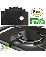 "Gas Range Protectors Prime - Black Stovetop Burner Protector Liner Cover Reusable, Non-Stick, Dishwasher Safe, Easy to Clean - FDA Approved 10.6"" x 10.6 (Pack 8)"