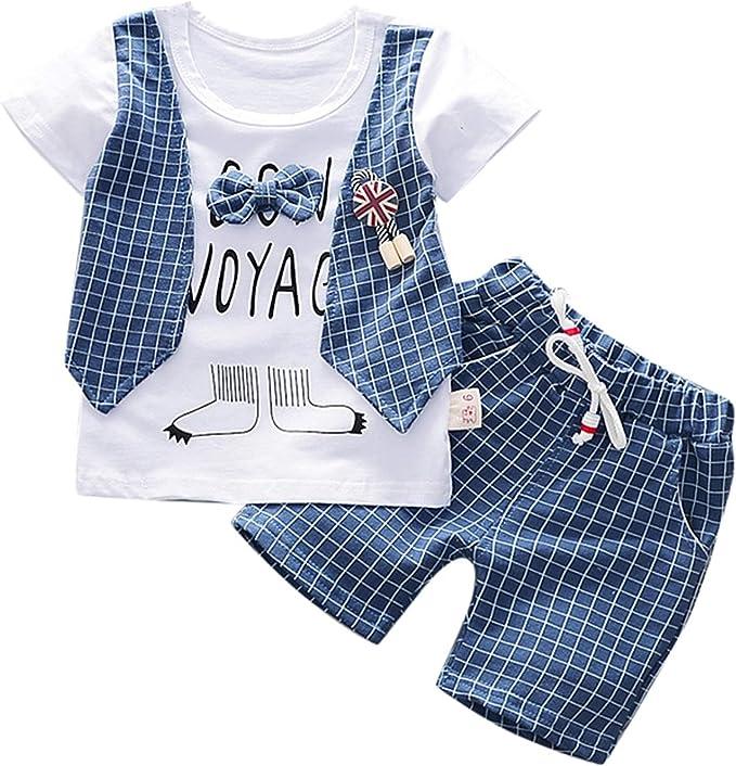 Happy Event Kleinkind Baby Jungen Gentleman Bogen T-Shirt Tops Shorts Hosen Outfits Kleidung Set