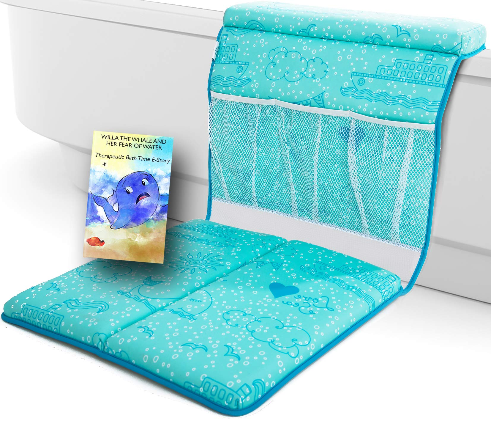 Bath Kneeler and Elbow Cushioned Protection for Baby Bathing - Comfortable, Thick, Carefully designed Bath Pads and Toy Organizer