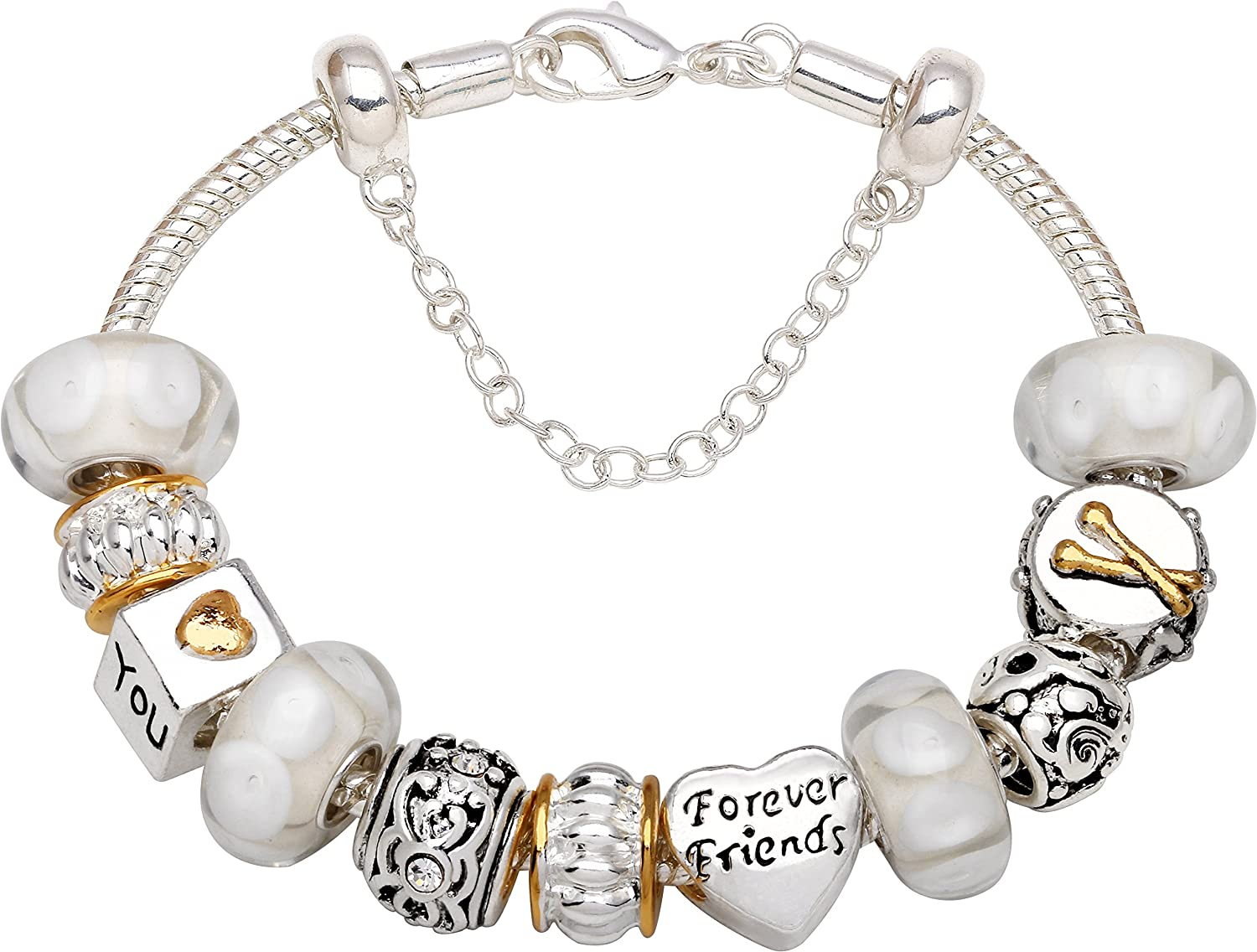 """Friends Are Held Together By Love Hearts"" Bead Charm Bracelet"