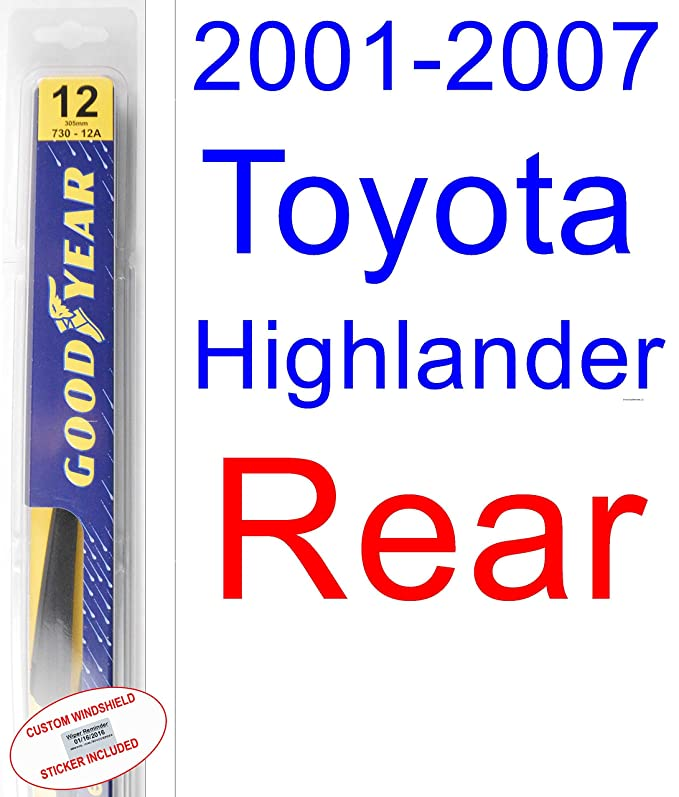 Amazon.com: 2001-2007 Toyota Highlander Replacement Wiper Blade Set/Kit (Set of 3 Blades) (Goodyear Wiper Blades-Premium) (2002,2003,2004,2005,2006): ...