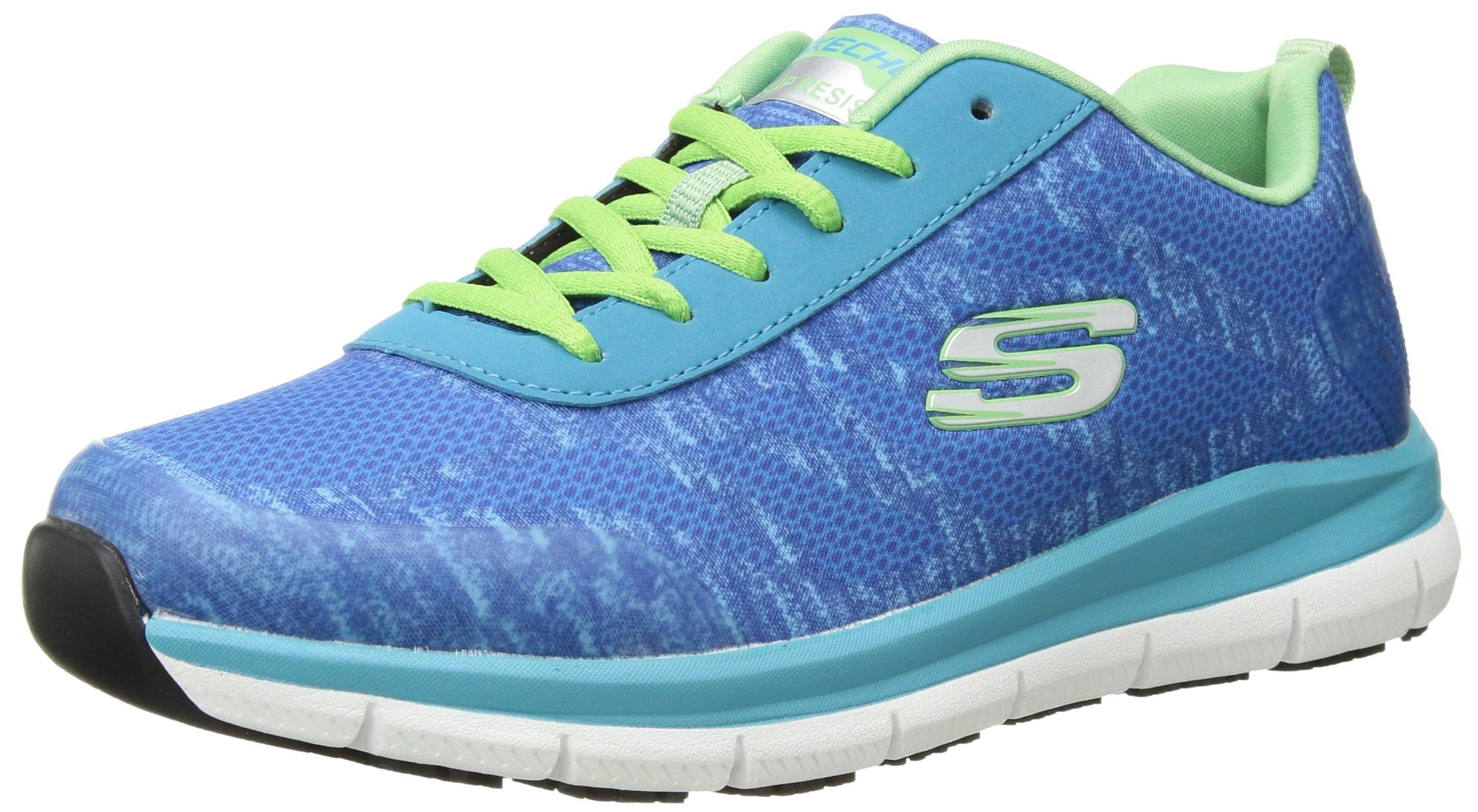 Skechers Women's Comfort Flex Sr Hc Pro Health Care Professional Shoe,Light Blue/Green,6.5 Wide US