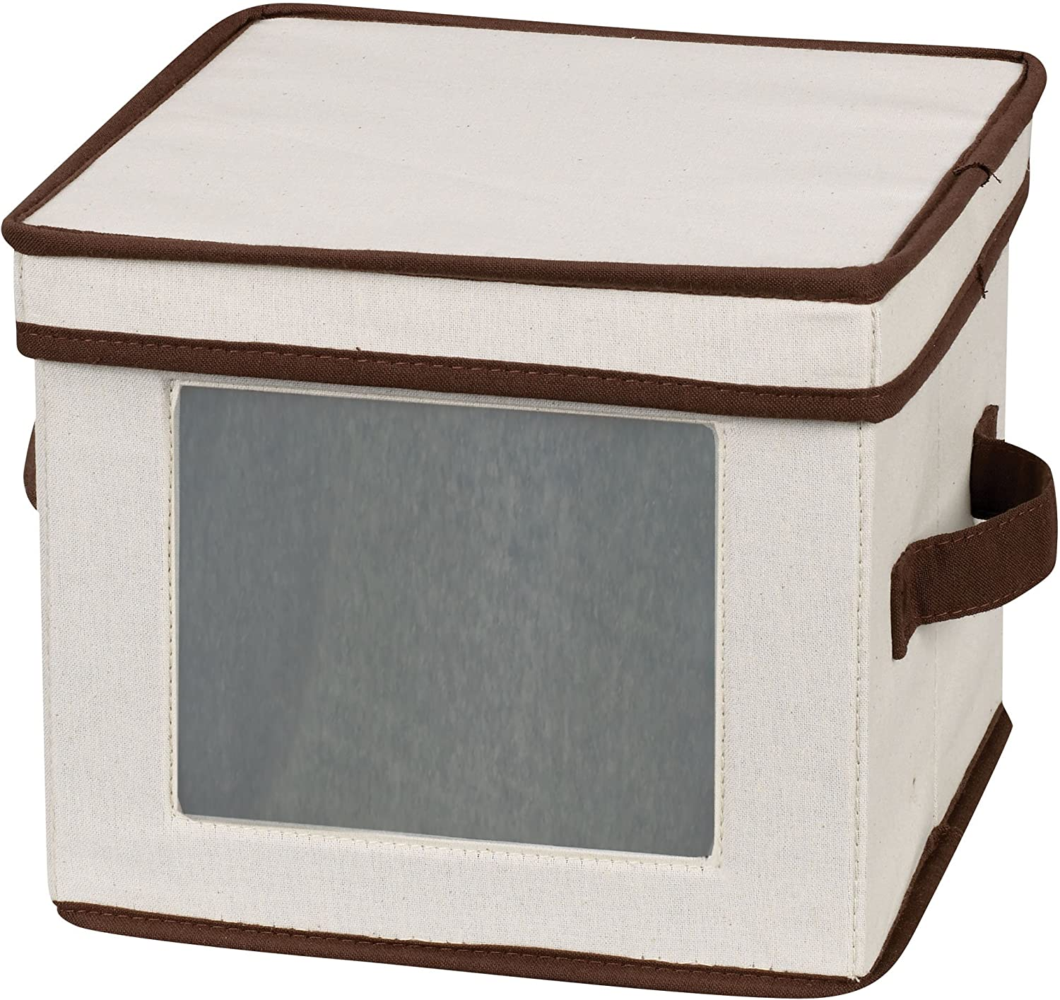 Household Essentials Natural 532 Dinnerware Box with Lid and Handles   Storage Bin for Dessert Plates or Bowls Canvas with Brown Trim