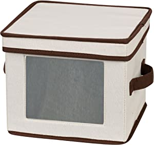 Household Essentials Natural 532 Dinnerware Box with Lid and Handles | Storage Bin for Dessert Plates or Bowls Canvas with Brown Trim