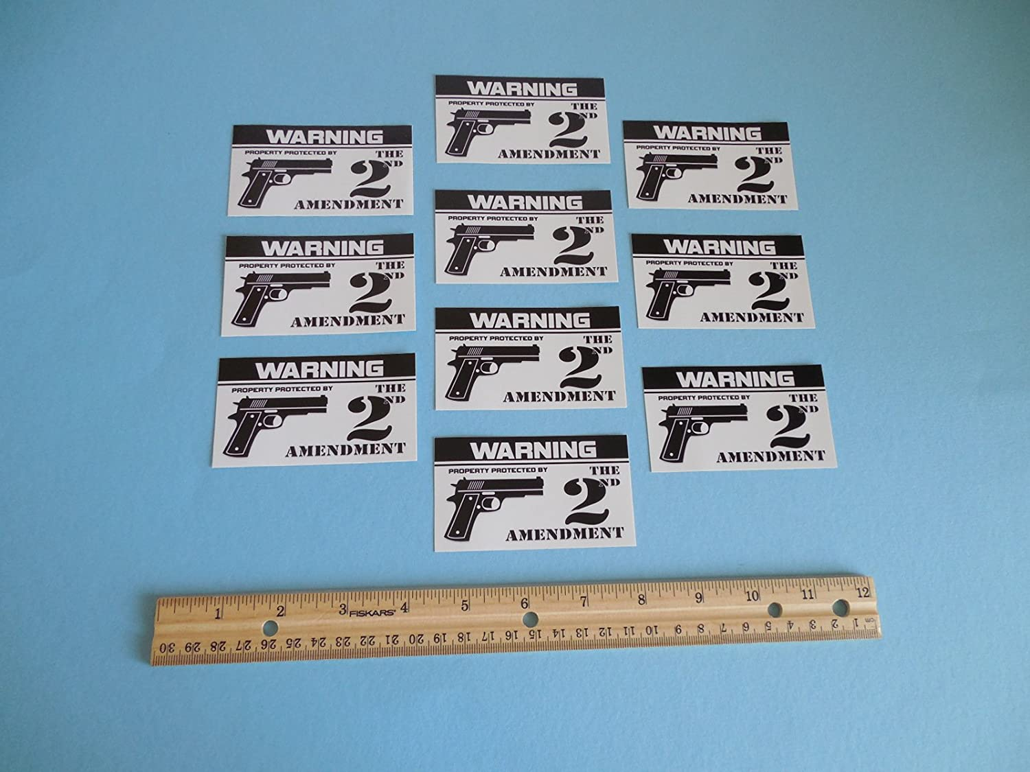 10 Warning Property Protected by 2nd Amendment Home Security System Window Decals Stickers - Stock # 723