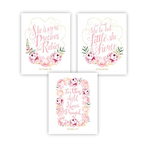 Baby Girl Pink Floral Nursery Decor, Bible Quotes Set of 3 UNFRAMED
