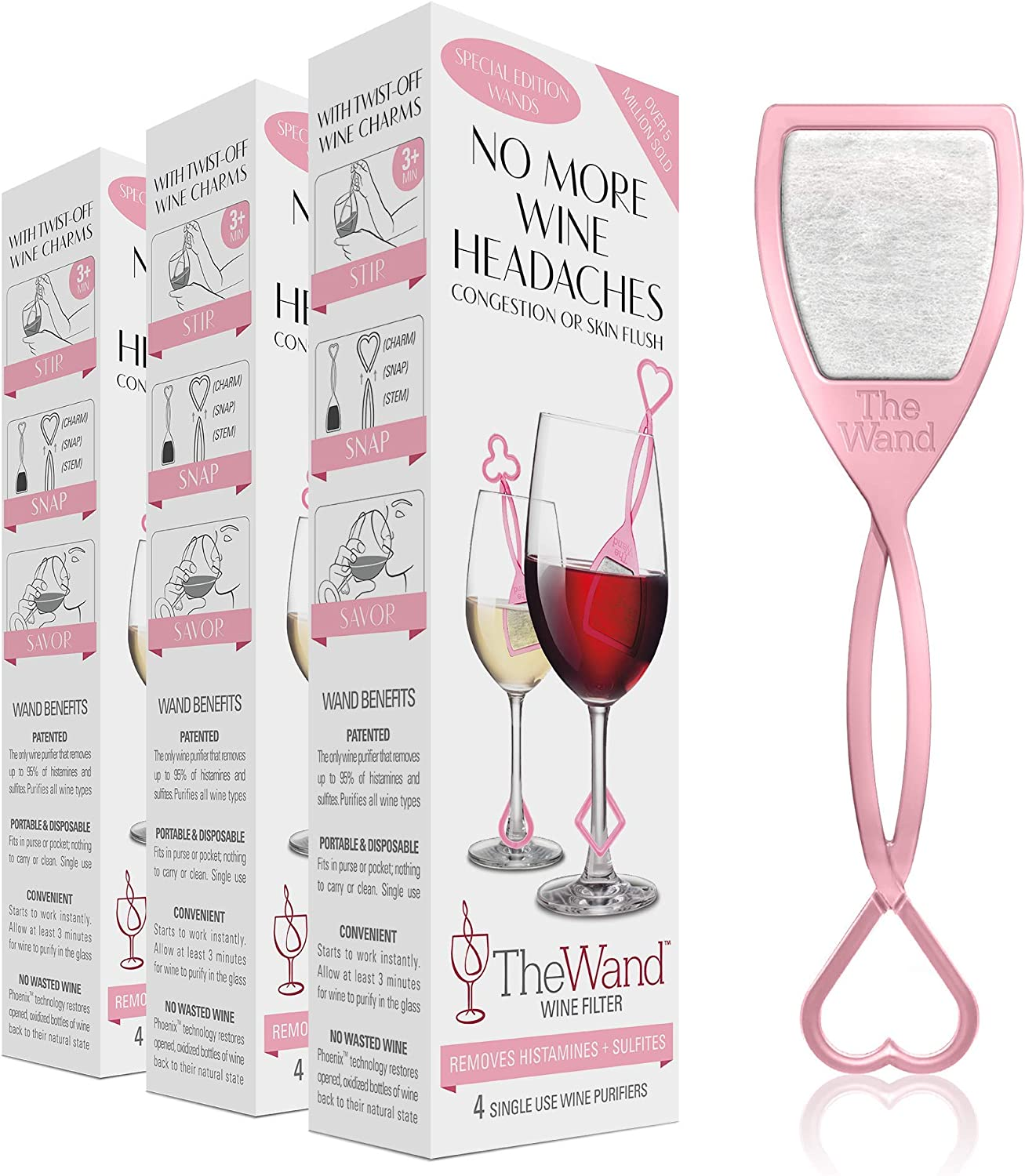 The Wand Wine Filter by PureWine | No More Wine Headaches | Removes Sulfites AND Histamines | NEW Twist-Off Wine Charms | (12)