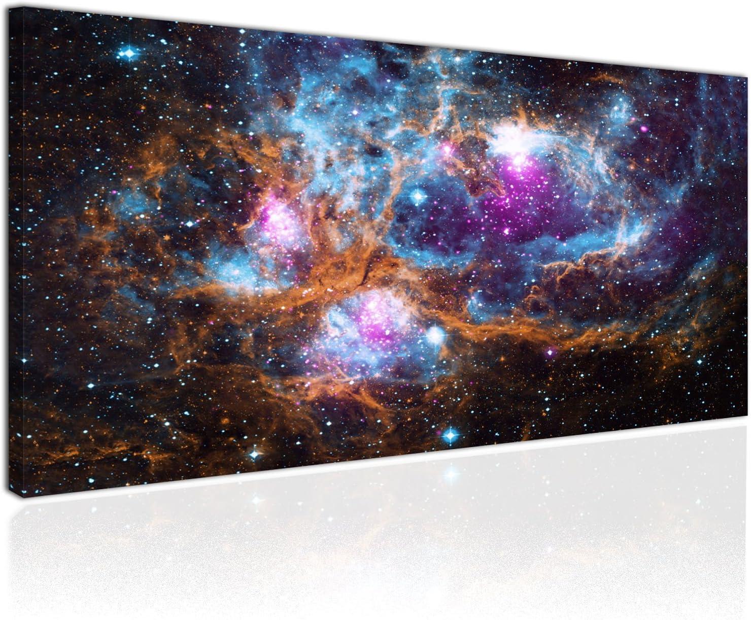 Cuadro XXL en Lienzo, Imagen Panorámica 100x50cm, Galaxia y Constelaciones - Universo de Estrellas y Planetas - Decoración de Pared, Listo para Colgar