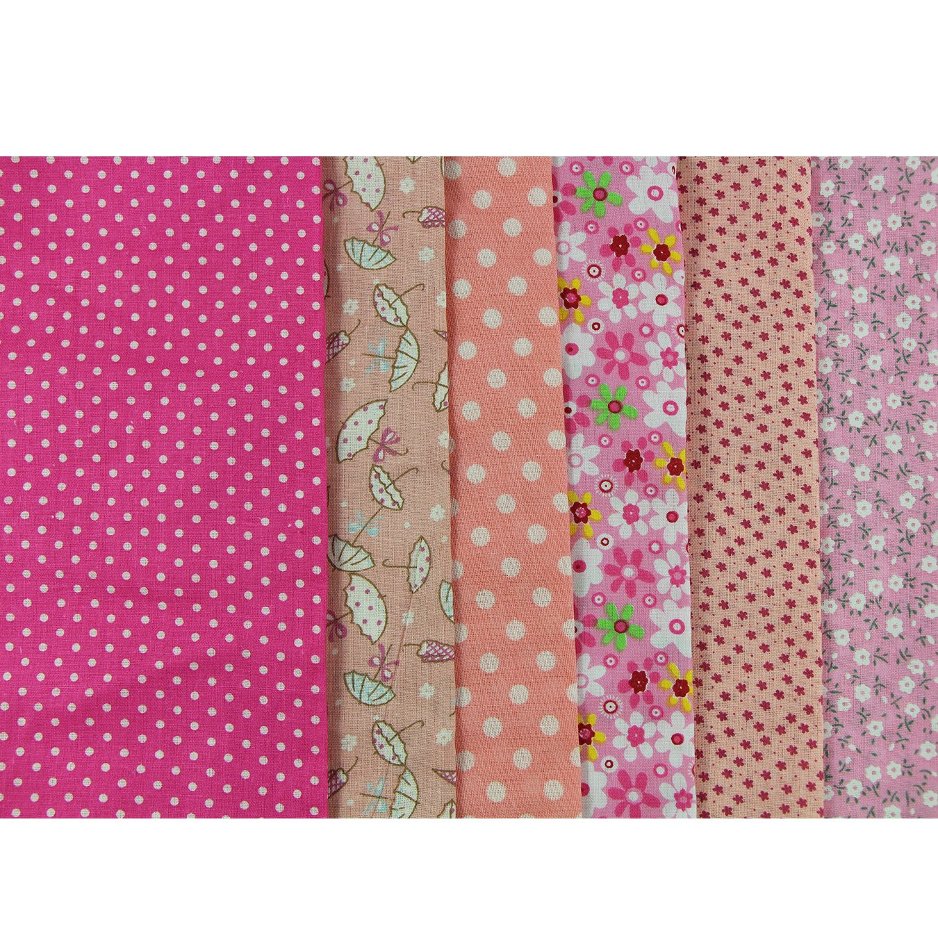 UOOOM 6pcs 50 x 50cm Patchwork Cotton Fabric DIY Handmade Sewing Quilting Fabric Different Designs (Tone-Red) ZHICHENG