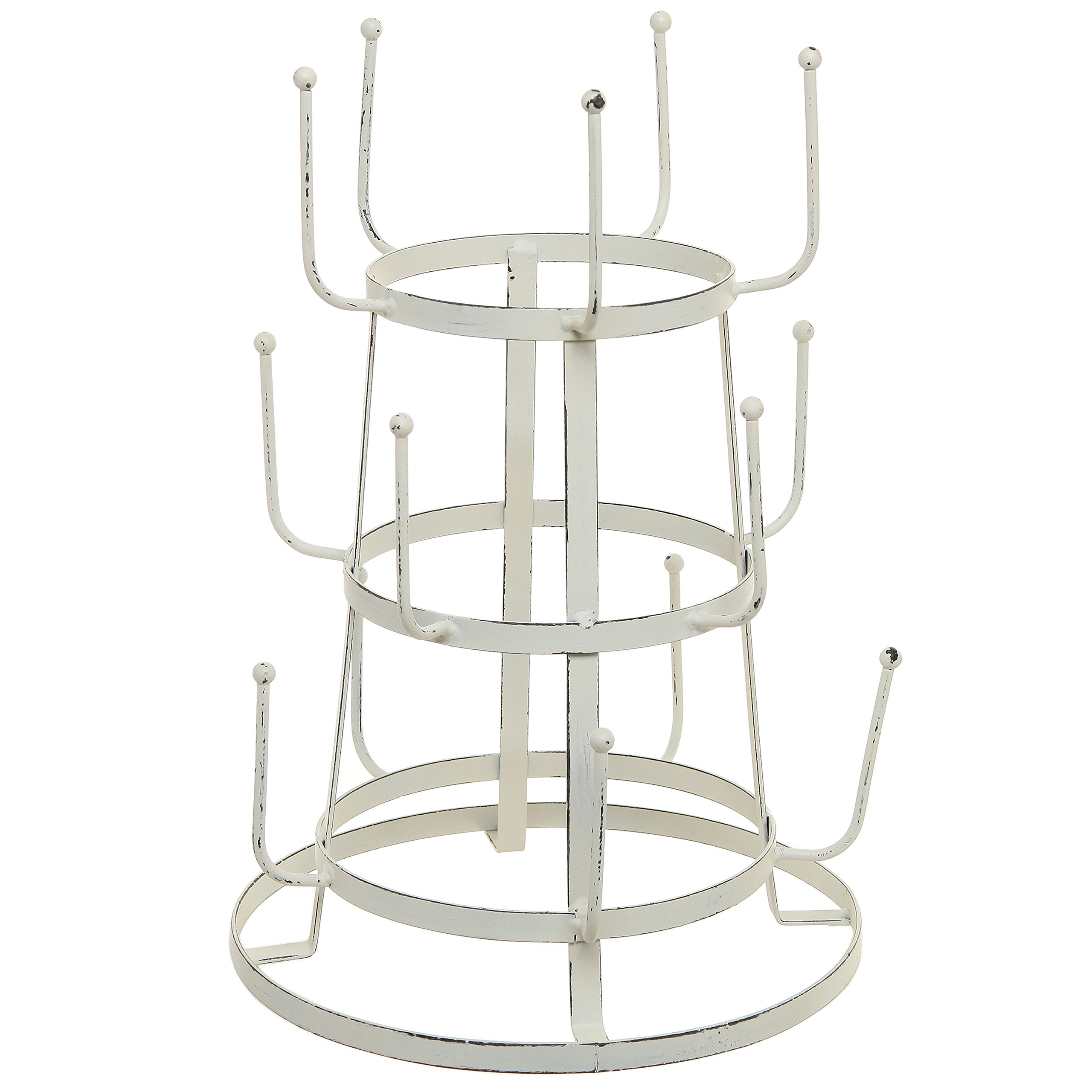 MyGift Vintage Distressed Off White Iron Mug/Cup/Glass Bottle Organizer Tree Drying Rack Stand