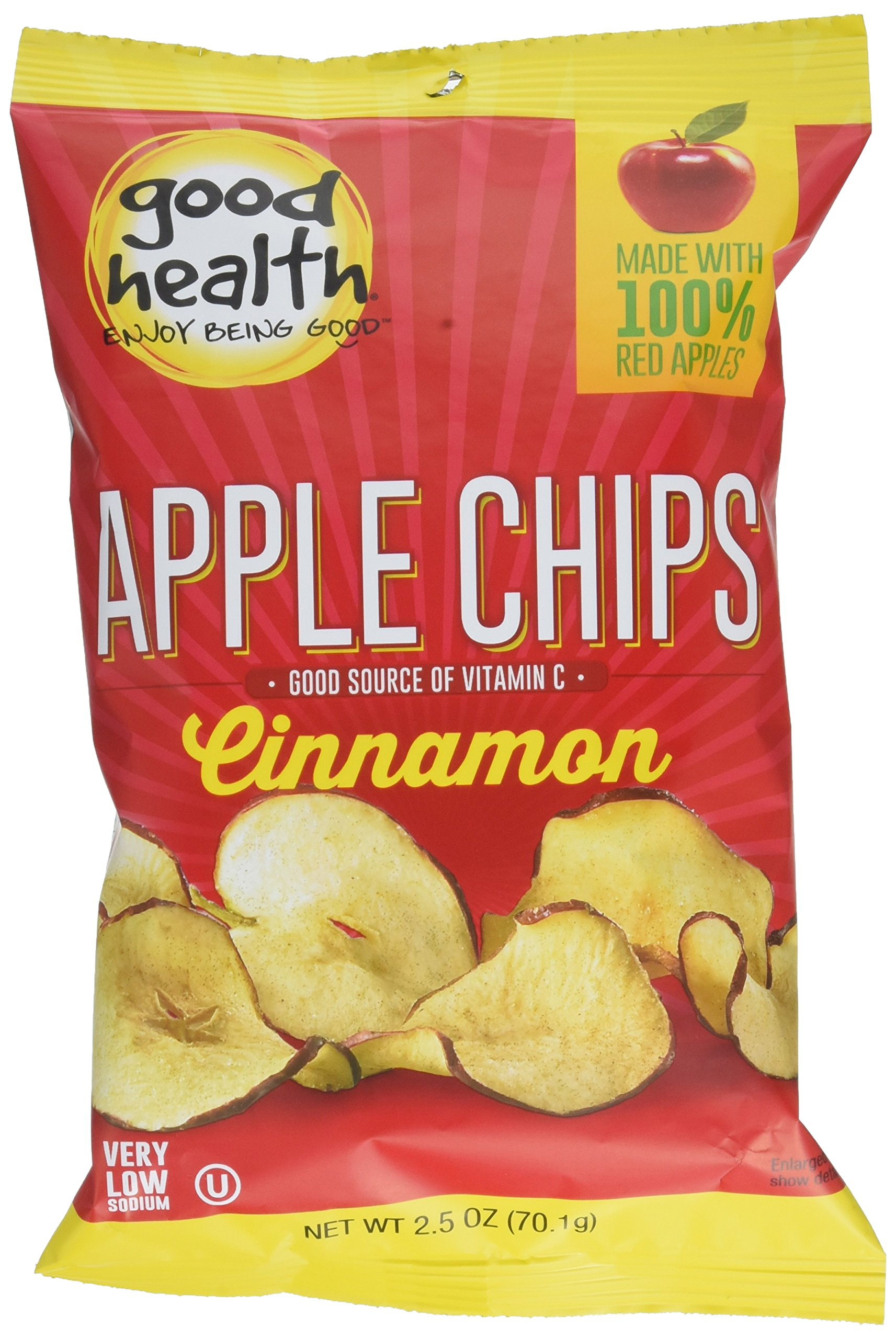 Good Health Apple Chips, Cinnamon, 2.5 oz. Bag, 12 Pack -Crispy Apple Chips Made with 100% Red Apples, Great for Lunches or Snacking on the Go by Good Health