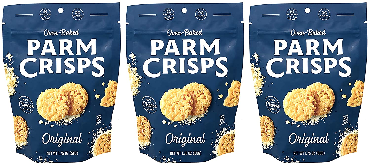 ParmCrisps Original 100% Cheese Crisps - Keto Friendly, Gluten Free, 1.75 Ounce Bag, Pack of 3