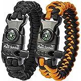 "A2S SURVIVAL Paracord Bracelet K2-Peak – Survival Gear Kit with Embedded Compass, Fire Starter, Emergency Knife & Whistle – Pack of 2 - Quick Release Slim Buckle Design (Black / Orange 9"")"