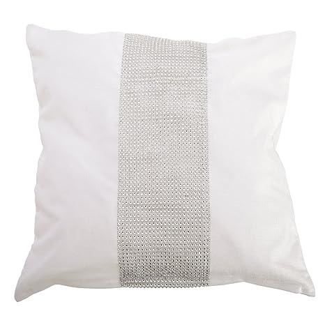 Panache - Funda cojin con Franja de Diamante Modelo ECLAT (Relleno cojín no Incluido) (43cm x 43cm/Blanco)