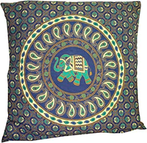 """Indian Blue Paisley Elephant Mandala Throw Ethnic Tribal Vintage, Decorative Pillow Cushion Cover, Inspired Motifs Flourishing Nature Ornate Curves and Swirls, Square Accent Pillow Case 18 X 18 """""""