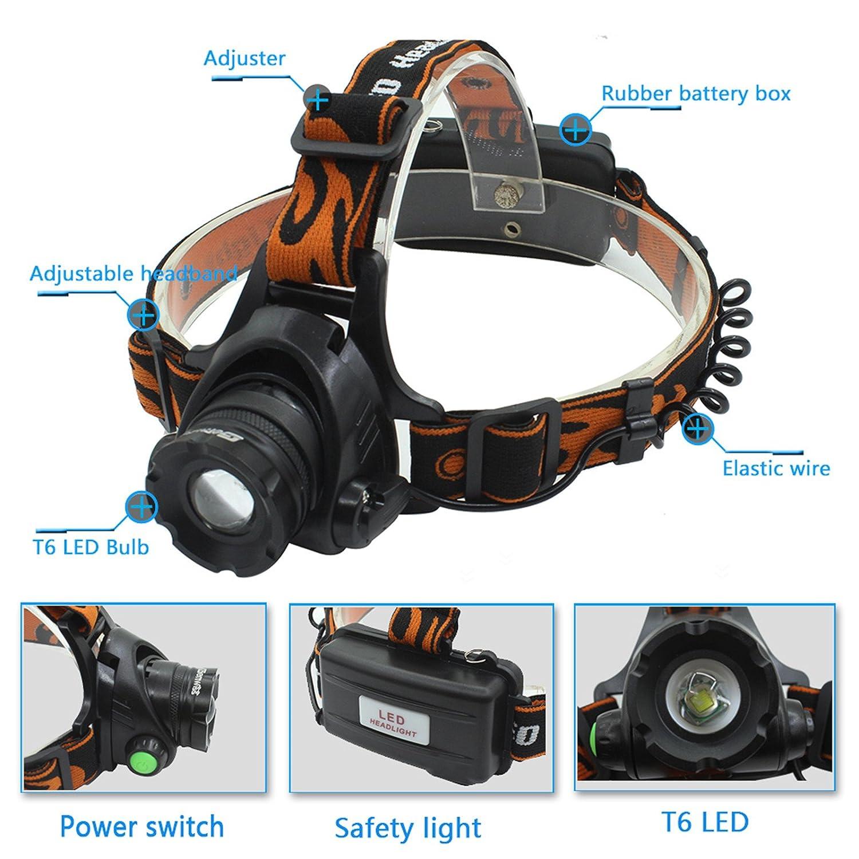 Luz frontal de 2000/l/úmenes CREE XM-L T6/LED luz para acampada incluye 2 bater/ías de 4200/mAh 18650/+ cargador + cargador de coche linterna el/éctrica para la cabeza recargable