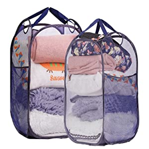 WEHUSE Mesh Pop-up Laundry Hamper, Folding Laundry Basket Tall Clothes Hamper with Durable Handles, 2 Pack