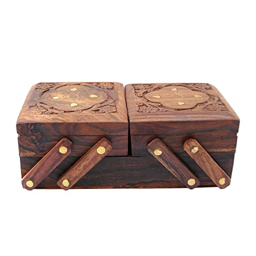 ITOS365 Jewellery Box For Women Wooden Flip Flap Flower Design Handmade Gift 8 Inches