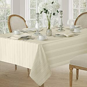 Satin Stripe Weave No-Iron Soil Resistant Fabric Tablecloth, 60 X 102 Oblong, Ivory