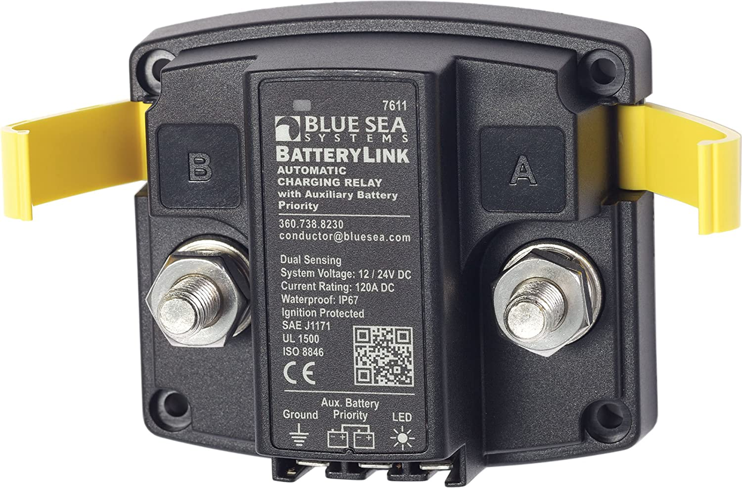 Amazon.com: Blue Sea Systems BatteryLink 12V/24V DC 120A Automatic on blue sea 7650 installation, blue sea acr with two engines, blue sea battery selector wiring, carolina skiff diagram, blue sea fuse block wiring diagram,