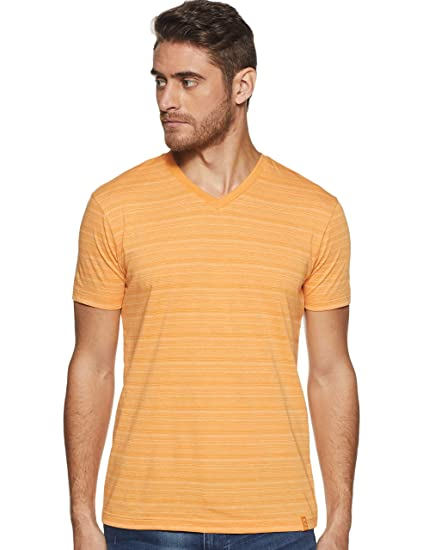 9a29de57 Jockey Men's Striped Regular Fit T-Shirt (AM50_Burnt Gold_Large ...