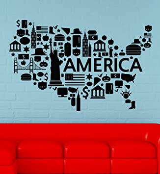 wall vinyl stickers map of usa united states of america modern decor for living room bedroom