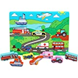 TOWO Wooden Transport Puzzle Board - Wooden Vehicle Peg Puzzle Chunky Size - Wooden Toys Jigsaw Puzzle for 18 Months Toddler Puzzle