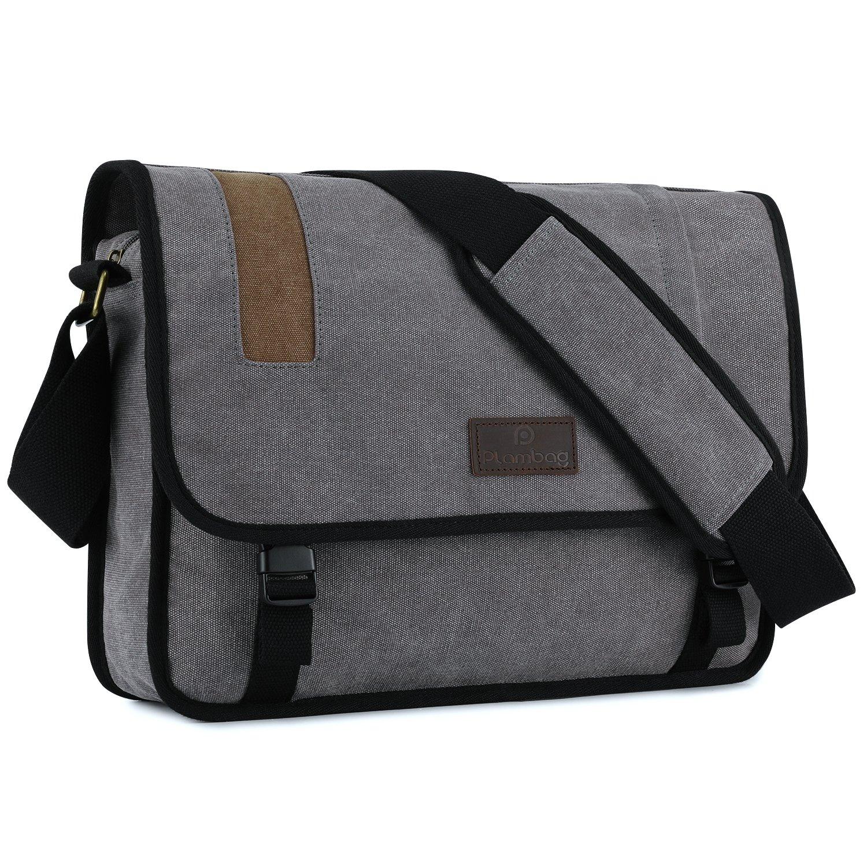 Plambag Men's Canvas Crossbody Messenger Bag 15.3'' Laptop School Shoulder Bag Grey