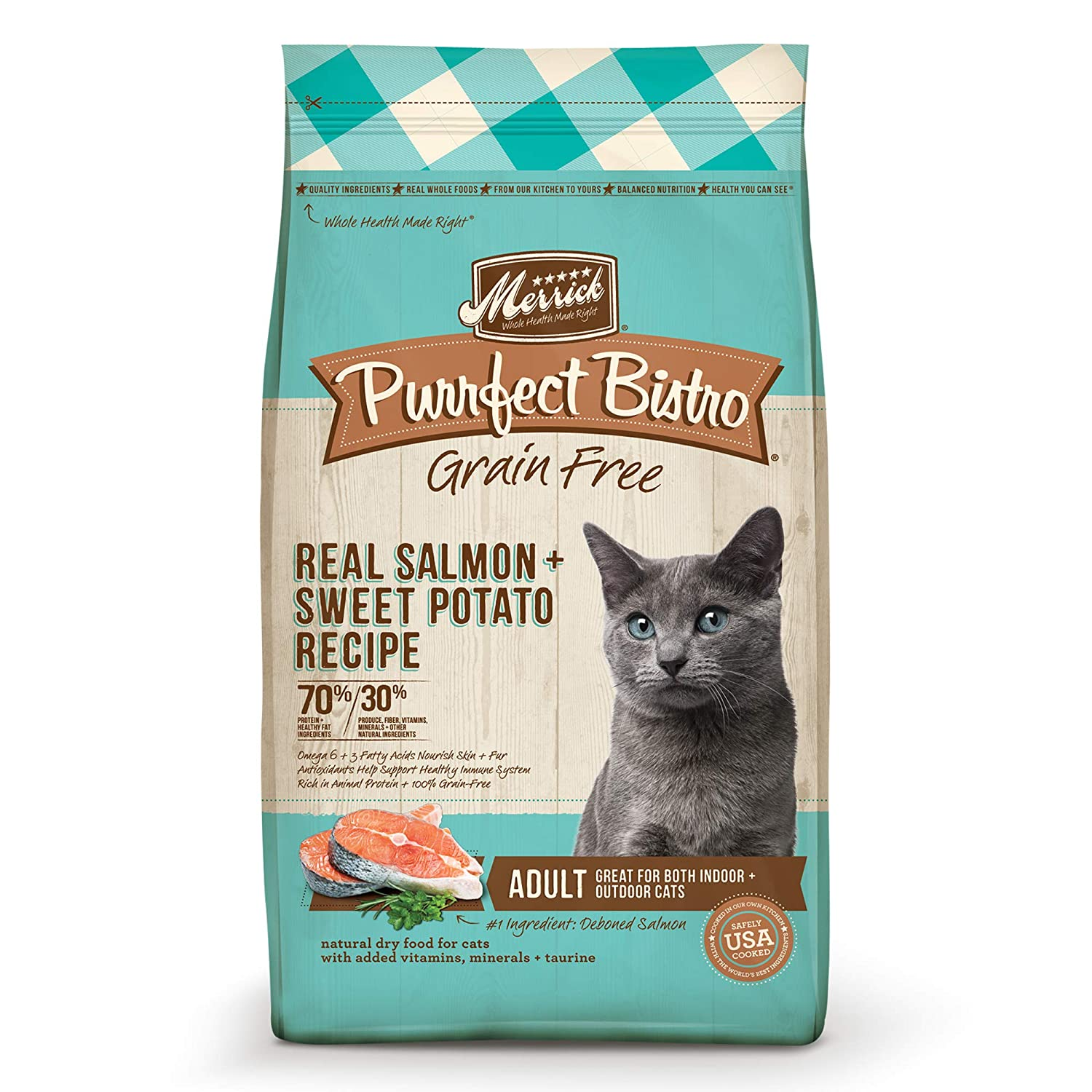 4-Pound Merrick Purrfect Bistro Grain Free Real Salmon Adult Dry Cat Food, 4 lbs.