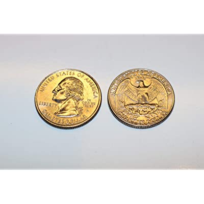 Pair of Real Double Sided Quarters 1 Two Headed and 1 Two Tailed Coin - 1 x Double Headed Quarter + 1 x Double Tailed Quarter by QUICK PICK MAGIC: Toys & Games
