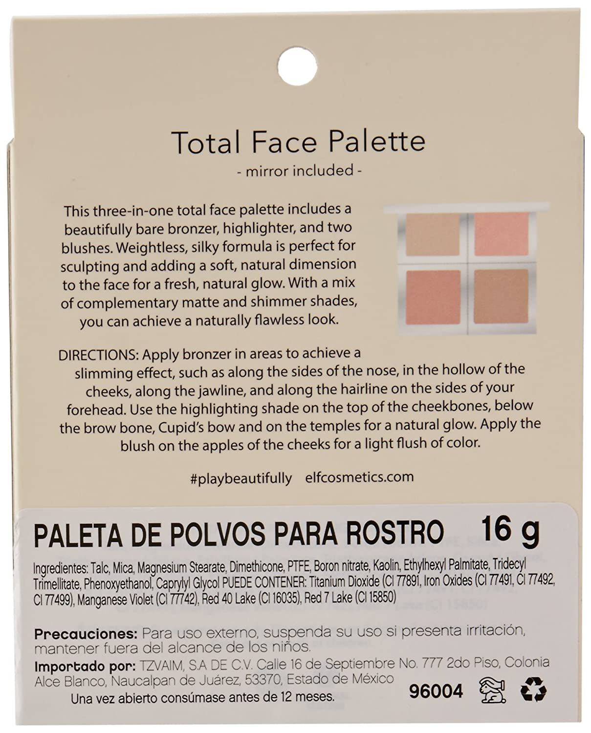 e.l.f. Cosmetics Paleta de cara de brillo natural hermosamente desnuda.: Amazon.es: Belleza