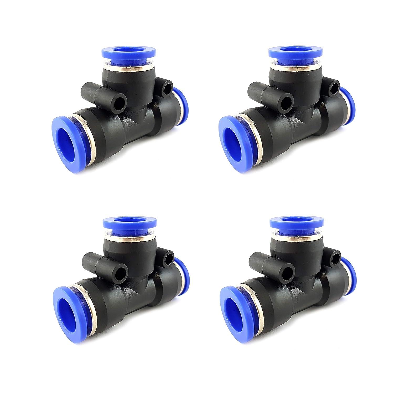 4stk T-Form 12mm pneumatische Anschlussadapter Steckverbinder f/ür Luft Wasser Schlauchanschluss
