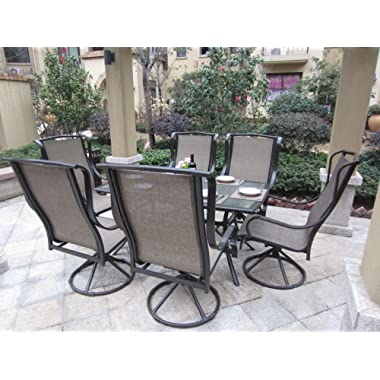 Pebble Lane Living 7pc Grand Regent Swivel Rocking Sling Patio Dining Furniture Set