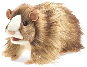 Folkmanis Guinea Pig Hand Puppet Plush, Brown/Light Tan/White