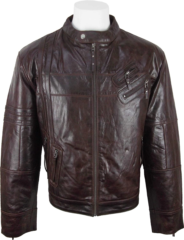 UNICORN Mens Short Fashion Leather Jacket Brown Glazed Leather #EP