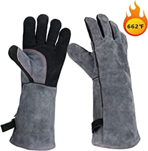 OZERO Leather Welding Gloves Full Protection & Extreme Heat Resistant 662℉, Insulated BBQ/Oven Baking/Meat Grilling/Barbecue Gloves