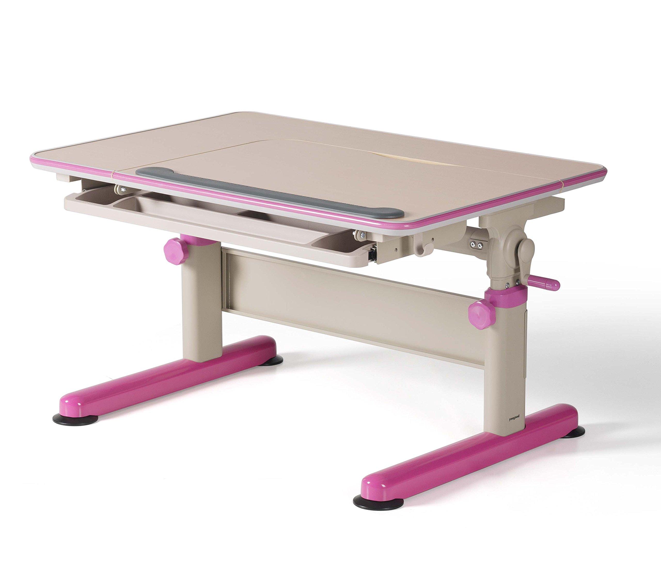 Height Adjustable Children Study Desk Stainless Steel Frame with Tilting Tabletop Drawer Storage PVC Bundle(Desk, Pink)