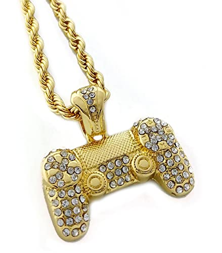 United bling iced out game controller pendant necklace with 24 rope united bling iced out game controller pendant necklace with 24quot rope chain aloadofball Choice Image