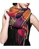 POSESHE Women's Fashion Long Shawl Big Grid Winter Warm Lattice Large Scarf