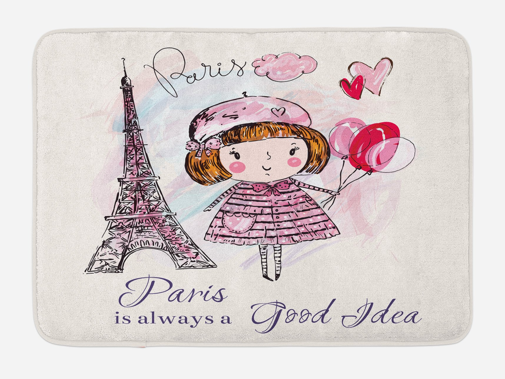 Ambesonne Paris Bath Mat, Little Girl Holding Balloons Hearts a Cloud and Eiffel Tower Illustration, Plush Bathroom Decor Mat with Non Slip Backing, 29.5 W X 17.5 W Inches, Pale Pink Purple White