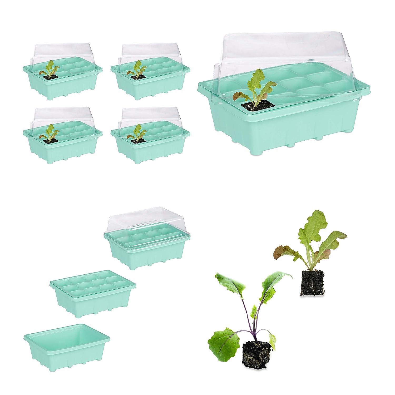 6x Mini Gewächshaus Zimmergewächshaus Pflanzkasten Anzuchtschale Anzuchtplatte