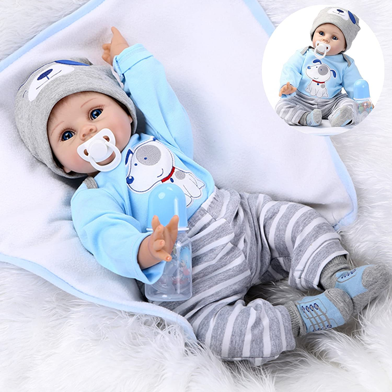 Amazon Com Realistic Reborn Baby Dolls Boy Lifelike Silicone Vinyl 22 Inches 55 Cm Weighted Body Wearing Toy Blue Dog Cute Doll Eyes Open Gift Set Toys Games
