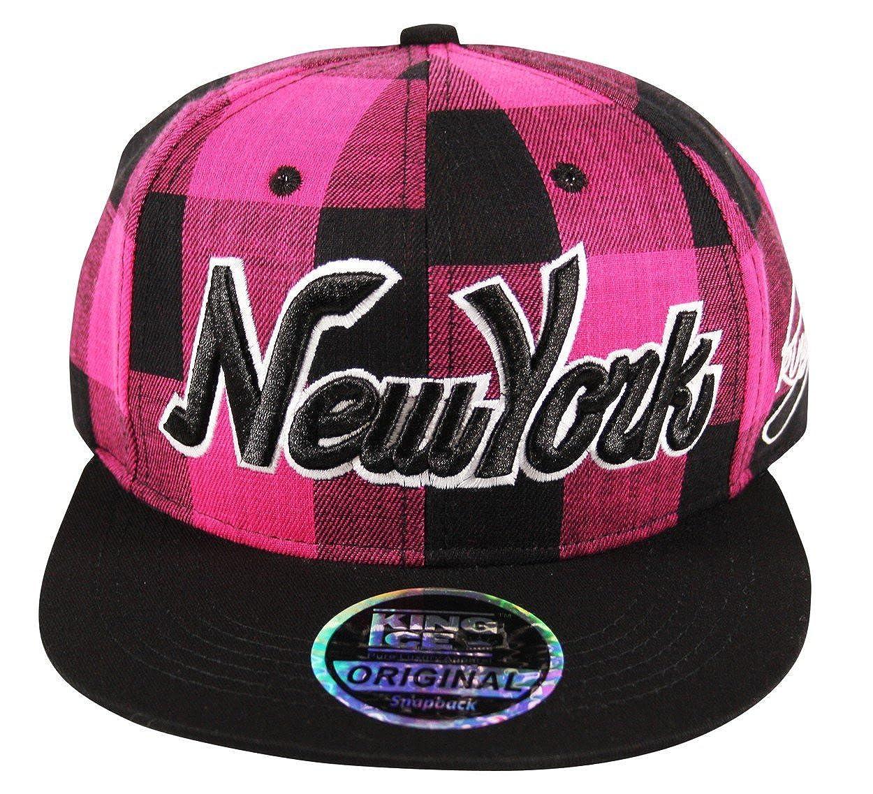 29aa20ba2c259b Itzu Snapback Baseball Cap New York NY Lumberjack Check Hat Adult in  Fuchsia Pink and Black: Amazon.co.uk: Clothing
